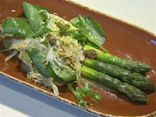 For the asparagus dish, frozen porcinis are pureed until they're just short of a vinagrette.