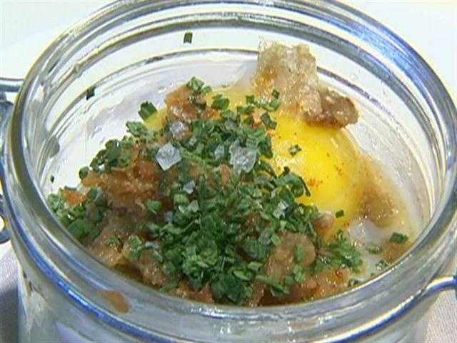 Excitement is growing over the duck egg in a jar with palm puree and cooked mitake mushrooms.