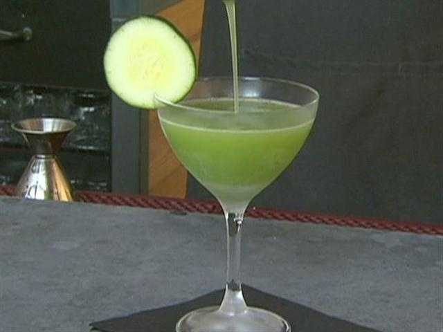 Signature drink, the Conant's Island, is a mix of cucumber puree, rice vinegar, and Tabasco.