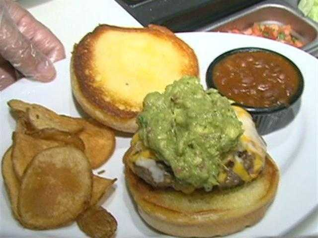 The Green Monster comes with homemade guacamole, cheddar jack cheese and homemade pico de gallo.