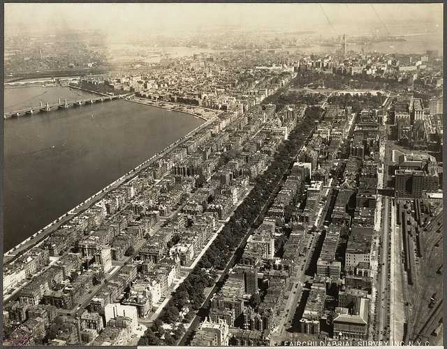 This is a view of Boston's Back Bay taken in 1925 with the Longfellow Bridge in the background.