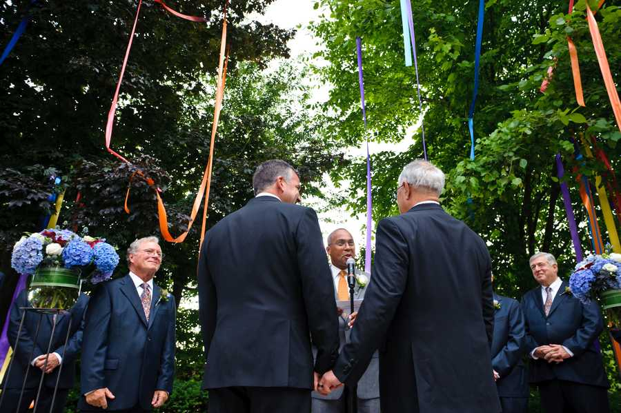 Massachusetts Representative Barney Frank married his longtime partner Jim Ready in a private ceremony in Newton on Saturday.