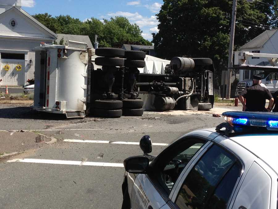 The crash took place on Pleasant Street, Route 60. The truck is owned by the JRM company.