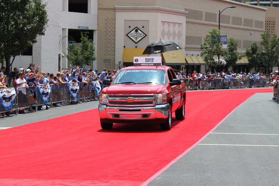 At the All-Star game in Kansas City Tuesday, David Ortiz participated in the All-Star Red Carpet Show at Kansas City's Country Club Plaza.