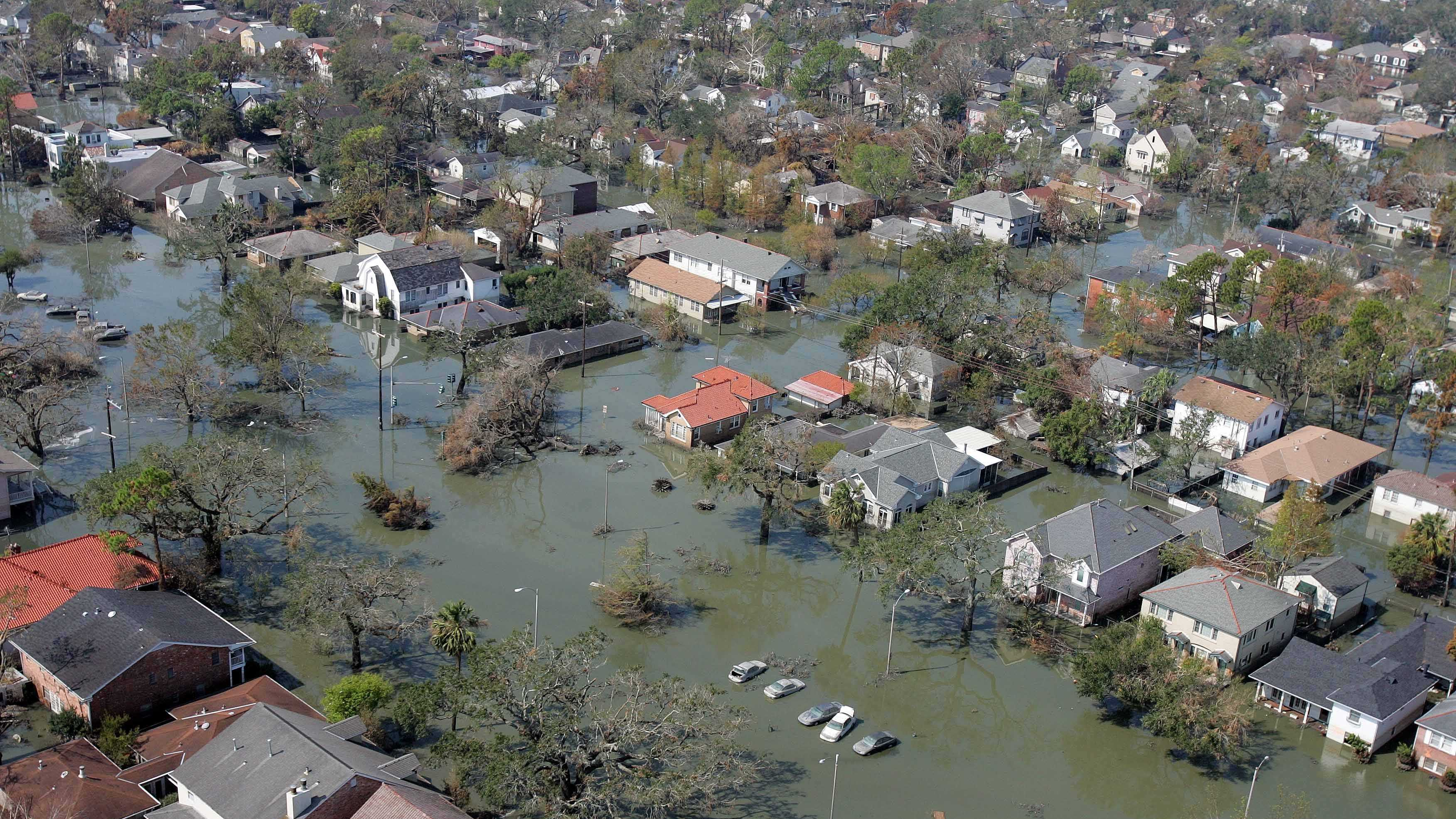 2. On August 29, 2005, hurricane Katrina devastated parts of the Gulf Coast, including New Orleans. A powerful storm surged breached the city's levees, causing catastrophic flooding.