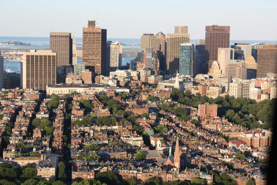 Here is a panoramic view of Boston in a photograph taken in 2012.