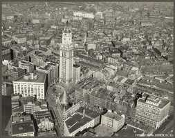 The area around the Custom House Tower in a photograph taken in 1928.