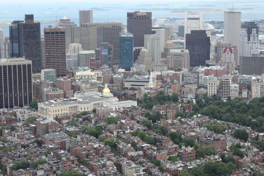 """And photographs taken from Live Sky 5, here is a look at Boston """"Then and Now"""" as seen from the air."""