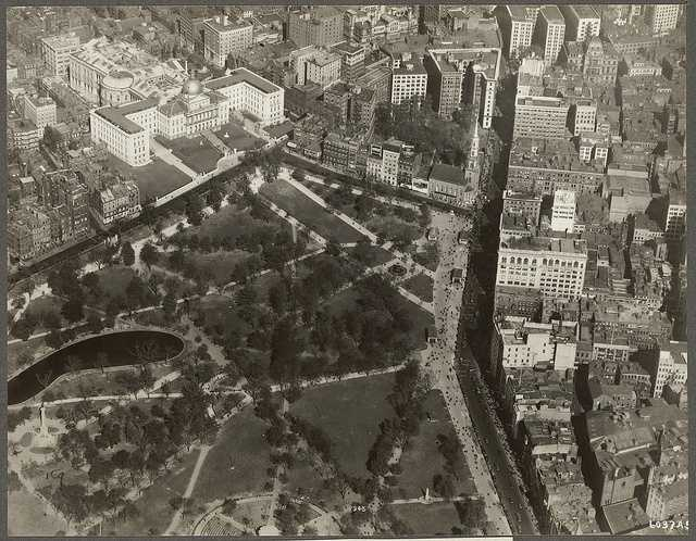 A view from the air of the Boston Common in 1925.