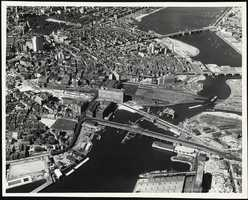 The Tobin Bridge leading to the elevated highway that ran through the city in 1950.