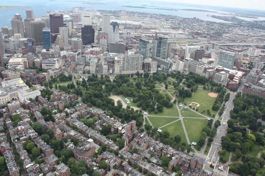 This is an aerial view of the Boston Common in 2012.