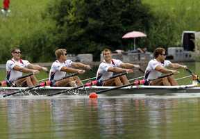 In 2008, Hovey's (far right) sculling partner was current Olympic hopeful and Newton-native Wes Piermarini.