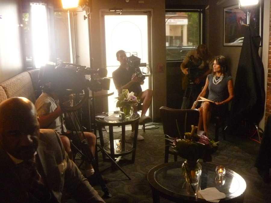 NewsCenter 5's Liz Brunner preparing for her interview with talk show host Steve Harvey in the summer of 2012.