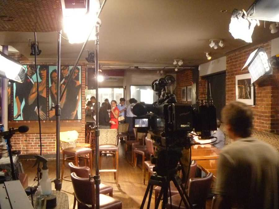 A behind-the-scenes shot of the set for WCVB's interview with Steve Harvey, about his new TV show coming to Channel 5 this fall!