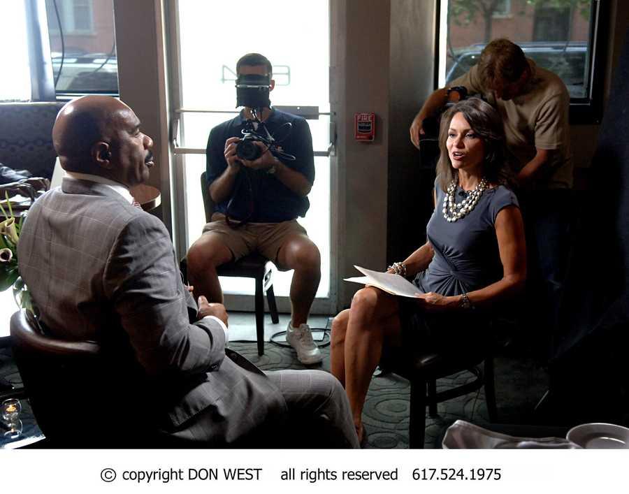 Newscenter 5 Anchor Liz Brunner interviews Steve Harvey for the evening news on WCVB-TV.