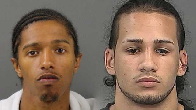 Jesse DosSantos, left,  was charged by New Bedford Police with armed robbery while masked, assault and battery with a dangerous weapon and carrying a firearm without a license. Eduardo Torres-Lopez, right, was charged with armed robbery while masked and carrying a firearm without a license.