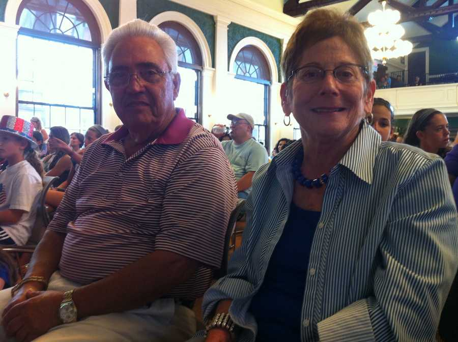 Marty Raisman, Aly's paternal grandfather, and maternal grandmother, Susan Faber, at Needham's rally at Town Hall.