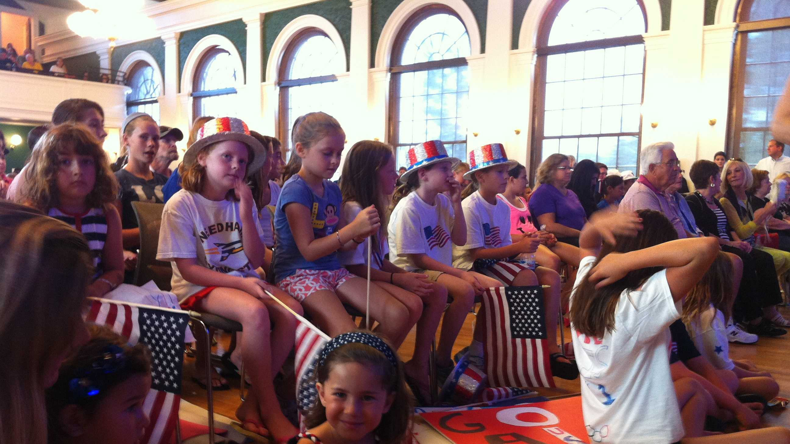 Young Needham residents watch Aly Raisman go for gold.