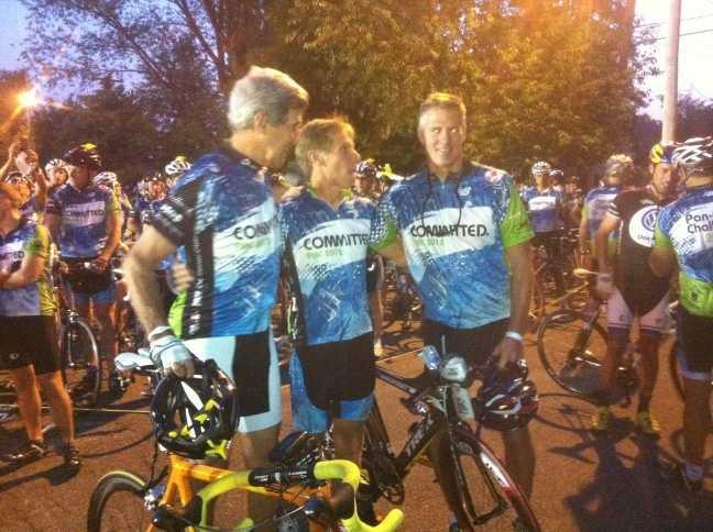 Sen. John Kerry, PMC head Billy Starr and Sen. Scott Brown before the ride in Sturbridge.