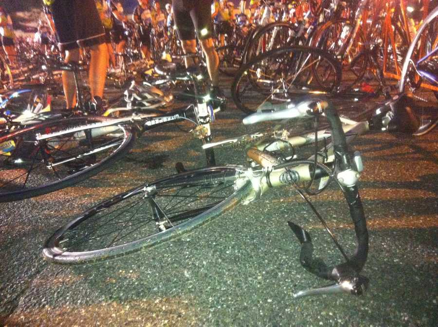 Bicycles wait for riders at the starting line in Sturbridge.