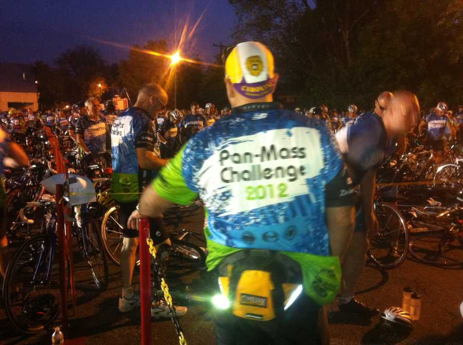 A rider at the starting line in Sturbridge