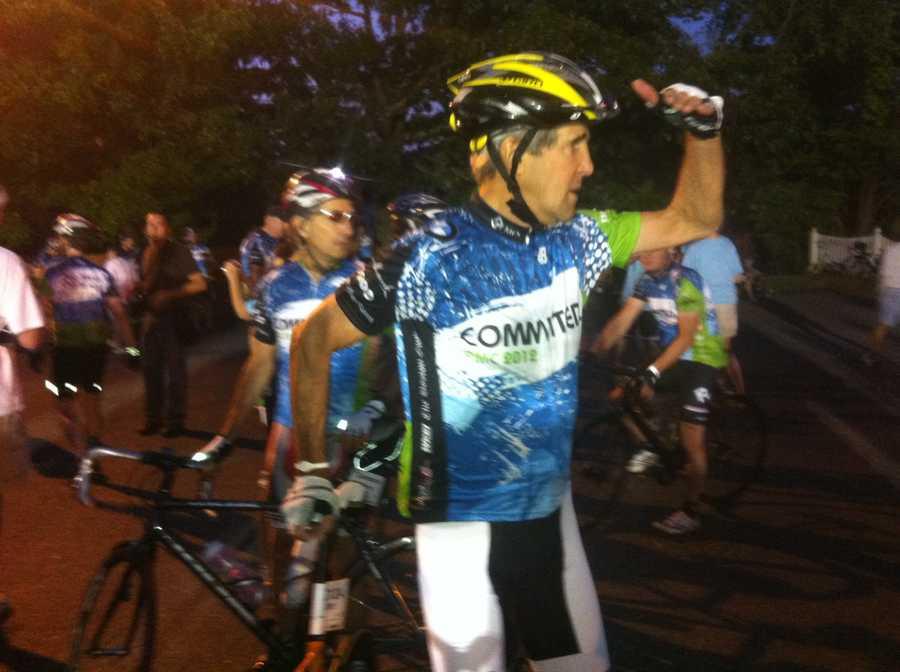 Sen. John Kerry prepares to ride.