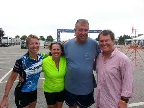 Sarah, Kim and Jamie Regan with News Center 5's Ed Harding at the Mass Maritime Academy.