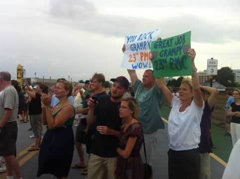 Families of PMC riders waiting for their loved ones to return from the Provincetown ferries.