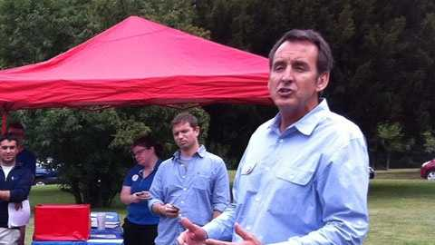 Tim Pawlenty campaigning for Mitt Romney and running mate Paul Ryan in New Hampshire.