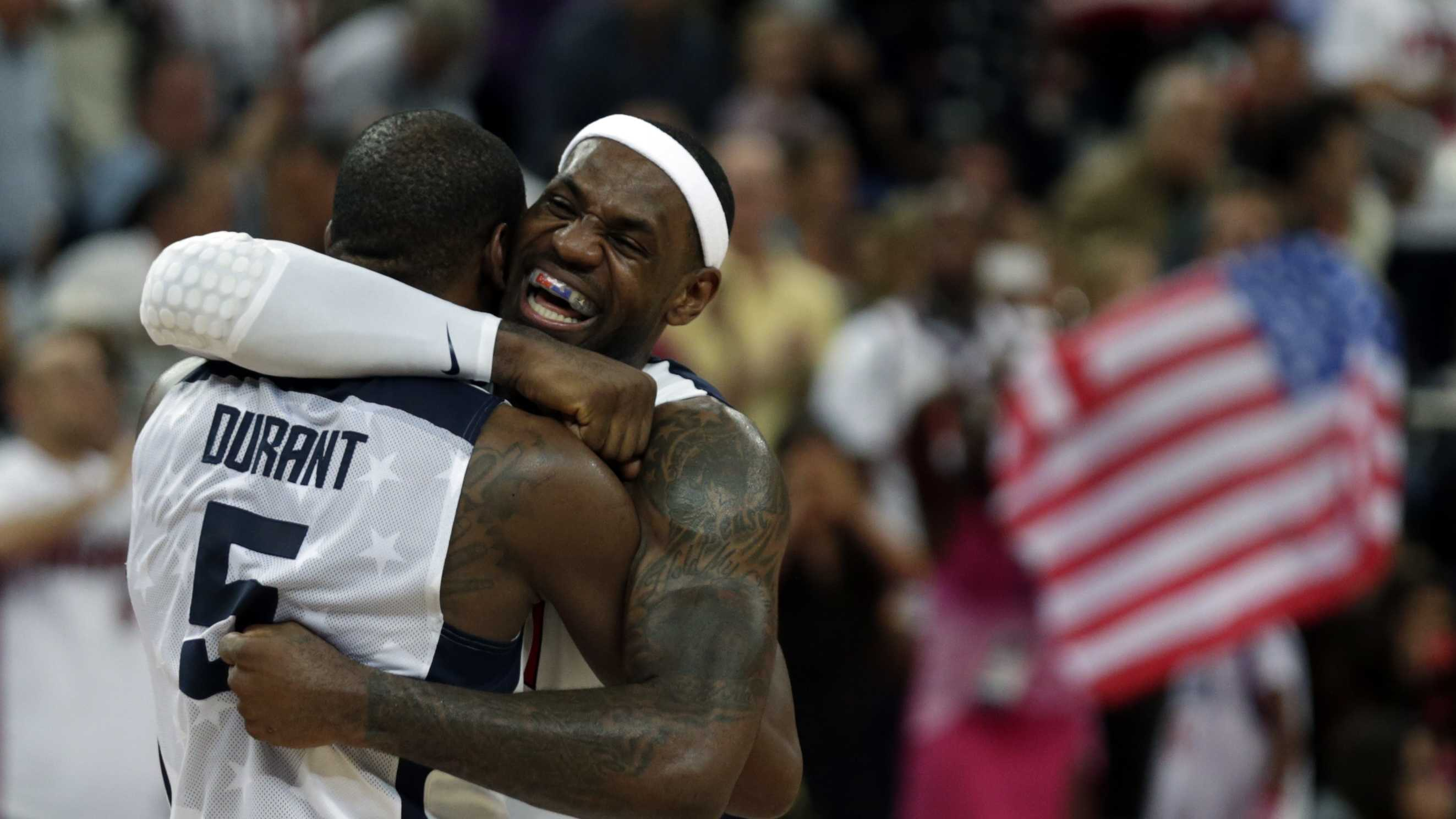 United States' LeBron James and Kevin Durant after winning the men's gold medal basketball game against Spain.