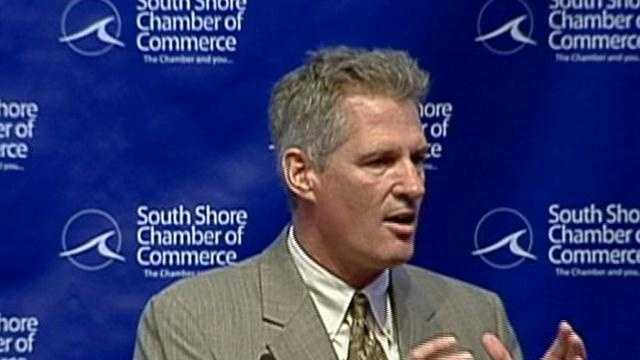 With the November election a few months away, U.S. Sen. Scott Brown is trying to draw a sharp line between his campaign and his Democratic challenger, Elizabeth Warren, on the issue of taxes.