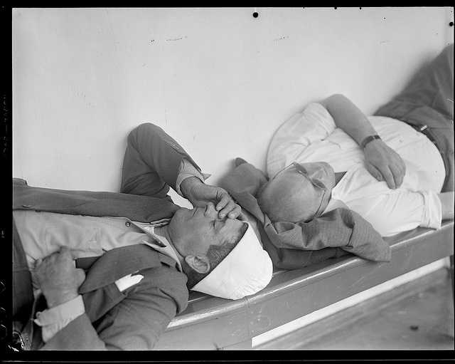 This is not a photo you'd see in 2012:  Sleeping it off in drunk tank from 1934.