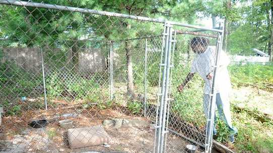 Hakeem Richardson, 22, of Brockton points out on Tuesday, August 14, 2012, the kennel in his yard from which his female pit bull and her nine puppies were taken by Brockton police and animal control on Sunday night. Richardson denies the dogs were mistreated.
