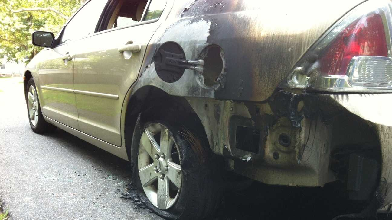 Photo of a damaged car which caught fire recently in suspicious blaze.