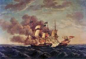 """During the fighting an American sailor noticed that some of the British shot hit, but rolled off Constitution's hull – """"Huzza! Her sides are made of iron!"""", he exclaimed, and thus the nickname """"Old Ironsides"""" was born."""