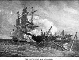 The first frigate-to-frigate battle of the War of 1812 occurred on August 19, 1812 between the British HMS Guerriere and the American USS Constitution, just two months after the declaration of war.