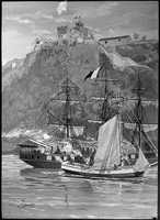 Capture of the French Privateer Sandwich by armed Marines on the Sloop Sally, from the U.S. Frigate Constitution, Puerto Plata Harbor, Santo Domingo, 11 May 1800.