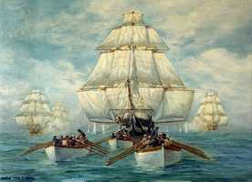 Painting depicting the boats of USS Constitution towing her in a calm, while she was being pursued by a squadron of British warships, 18 July 1812.