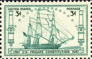 1947 stamp issued to commemorate the 150th anniversary of USS Constitution