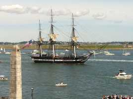 The short trip marks the day two centuries ago when the Constitution bested the British frigate HMS Guerriere in a fierce battle during the War of 1812.