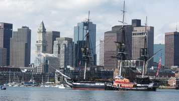 On Sunday, Aug. 19, 2012, the warship was tugged from its berth in Boston Harbor to the main deepwater pathway into the harbor for a historic 10-minute cruise.