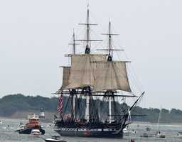 Three of its sails unfurled, the USS Constitution sailed in Boston Harbor on August 19, 2012. It was only the second sailing of the ship, under its own power, in over 100 years.