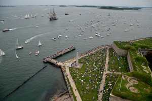 Making her way back in past Fort Independence on Castle Island.