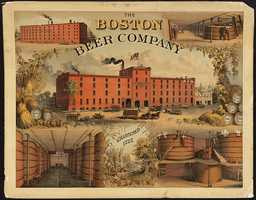 The Boston Beer Company was chartered 1828. The poster from 1880 shows an image of red brick building with horse-drawn beer wagons in front surrounded by smaller images of the interior and exterior of the building, brewing process, country scene.