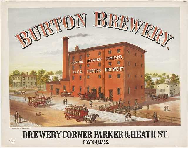 The Burton Brewery is depicted in this 1877 poster.  It was located at the corner of Parker & Heath Streets, which is now the site of the Bromley-Heath Housing Project.