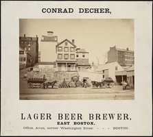 Conrad Decher, a lager beer brewery in East Boston, is depicted in this 1877 poster.