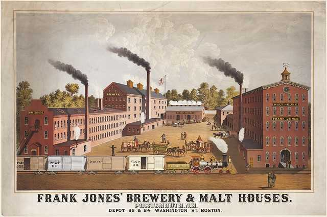 The Frank Jones' brewery & malt houses of Portsmouth, N.H., is depicted in this ca. 1880 poster.