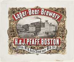 "This Pfaaf Brewery poster is ca. 1875. The address: ""Office: No. 16. Arch Street near Milk Str."""