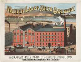 A ca. 1880 poster for Munich lager beer brewery which was located at 423 to 443 Eight Street in Boston and established in 1875.