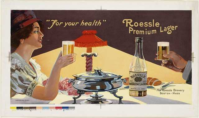 This poster ca. 1880 advertises Roessle Premium Lager.  The brewery first opened in 1846.